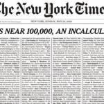 द न्यूयॉर्क टाइम्स ने अखबार के पहले पेज में छापे कोरोना से मरने वालों के नाम