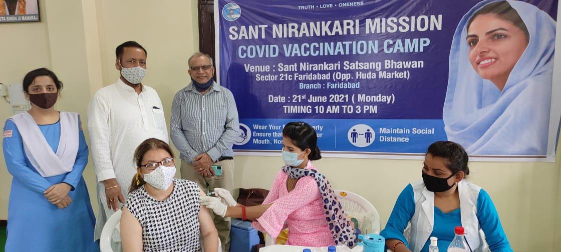 महावैक्सीनेशन अभियानमें सन्त निरंकारी सत्संग भवन सेक्टर 21 C फरीदाबाद में 331 लोगों ने लगवाई वैक्सीन