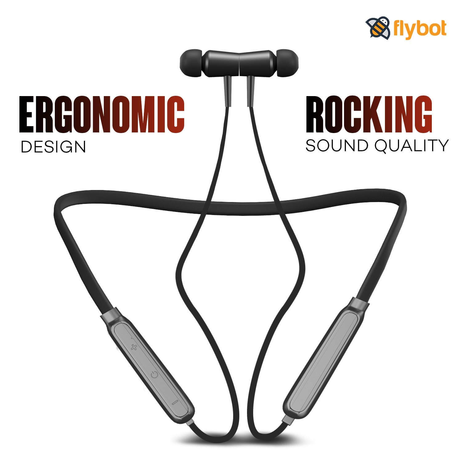 Flybot Action In Ear Wireless Bluetooth Neckband And Magnetic Earbuds, Ipx4 Water Resistant Sports Earphones, Built In Mic (black)