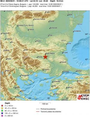 3.9 Richter scale earthquake shakes Bulgaria's Stara Zagora